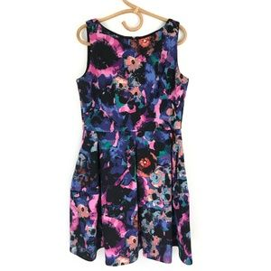 Taylor Floral Scuba Fit n Flare Sleeveless Dress